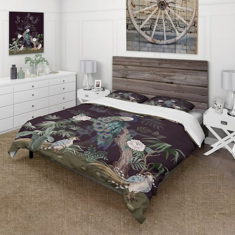 Designart 'Chinoiserie With Birds and Peonies V' Traditional Duvet Cover Set