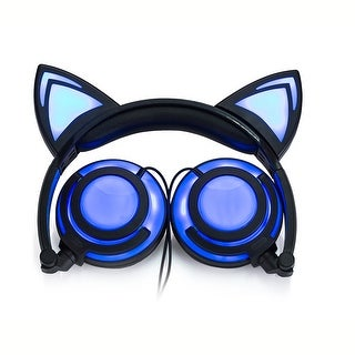 TechComm K8 Pointy Cat Ear LED Headphones with Glowing and Blinking Functions
