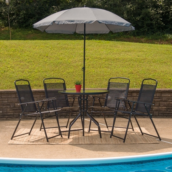Nantucket 6 Piece Patio Garden Set with Table, Umbrella and 4 Folding Chairs. Opens flyout.