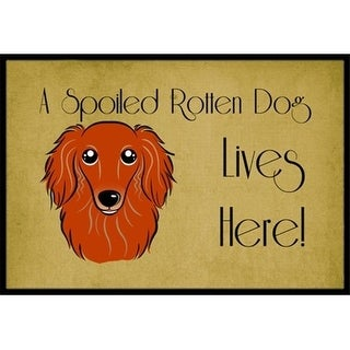 Carolines Treasures BB1462MAT Longhair Red Dachshund Spoiled Dog Lives Here Indoor & Outdoor Mat 18 x 27 in.