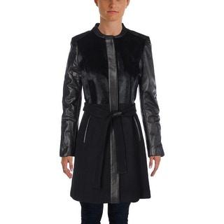 Elie Tahari Womens Coat Lamb Leather Pony Hair