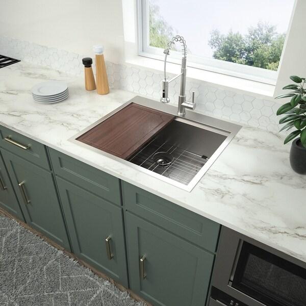 Single Bowl Stainless Steel Kitchen Drop-in Sink. Opens flyout.