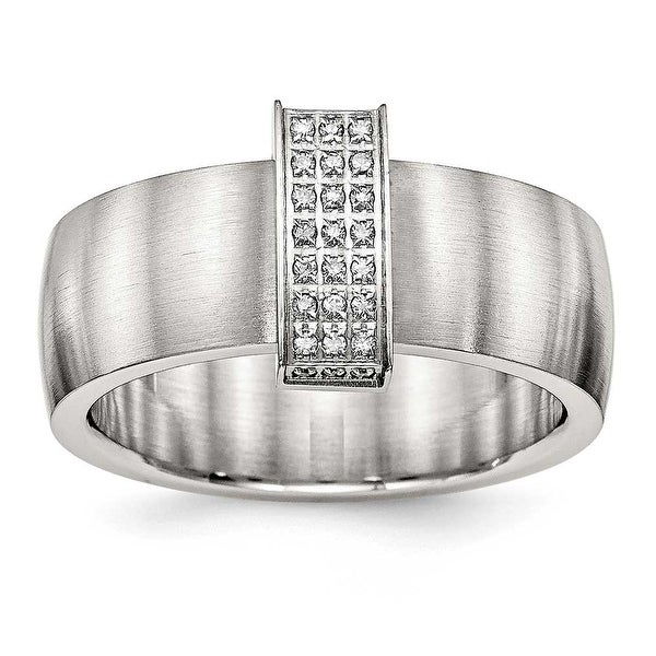 Stainless Steel Brushed and Polished CZ 8 mm Band Ring