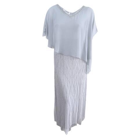 J Kara Women's Beaded Cape Gown (10, Silver)