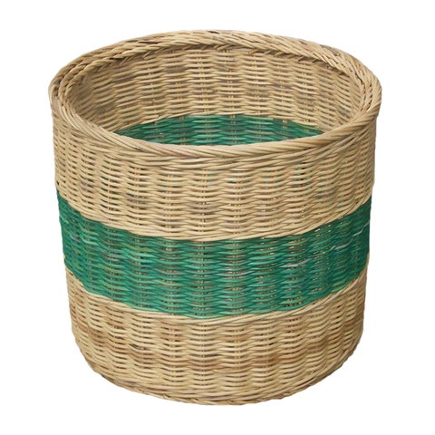 Offex Hand Woven Wicker Basket with Blueish Greenish Stripe