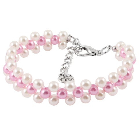 Pink White Round Beads Ornament Elastic Pet Dog Puppy Cat Collar Necklace S