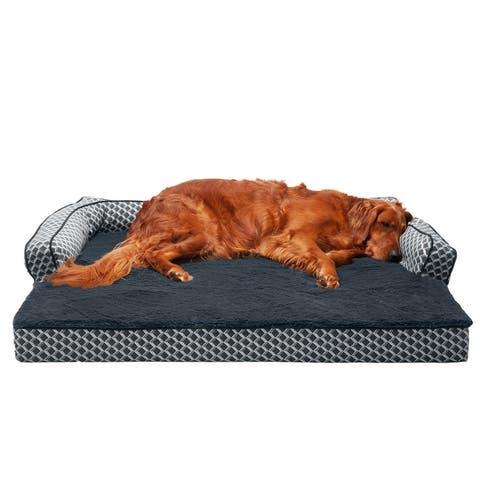 FurHaven Pet Bed Plush & Décor Comfy Couch Orthopedic Sofa-Style Dog Bed