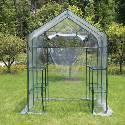 """Outdoor 56"""" W x 56"""" D x 76"""" H Green House ,Walk-in Plant Gardening Greenhouse With 2 Tiers 8 Shelves(Transparent Cover)"""