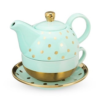 Addison Aqua Gold Dot Tea for One Set by Pinky Up®