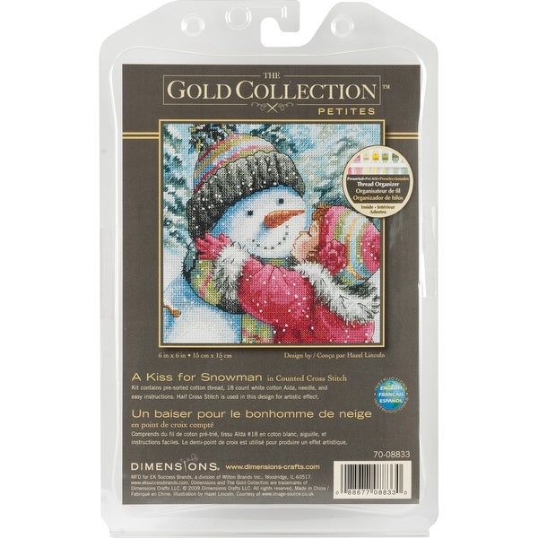 "Gold Petite A Kiss For Snowman Counted Cross Stitch Kit-6""X6"" 18 Count"