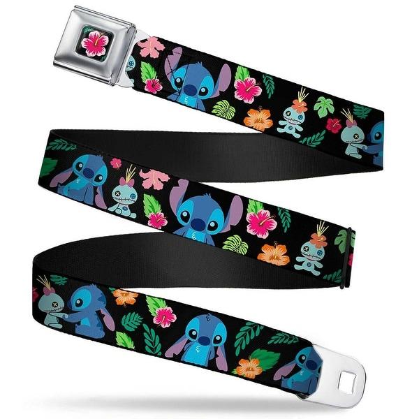 Lilo & Stitch Hibiscus Flower Full Color Black Pink Stitch & Scrump Poses Seatbelt Belt