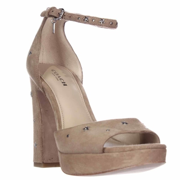 Coach Margharita Star Platform Ankle Strap Sandals, Nude - 6.5 us