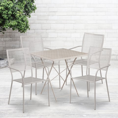 "28"" Square Lt Gray Indoor-Outdoor Steel Folding Patio Table Set with 4 Chairs"