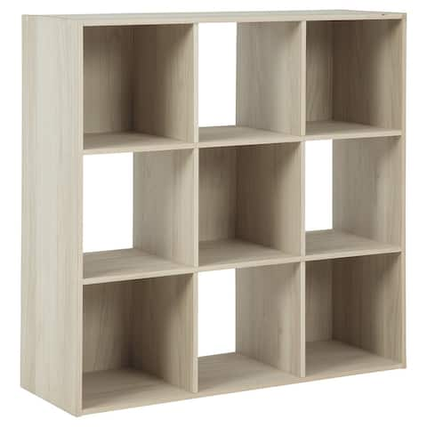 9 Cube Wooden Organizer with Grain Details, Natural Brown
