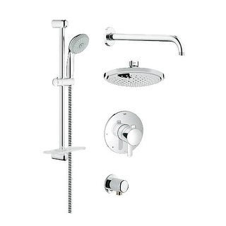 Grohe 35 051 GrohFlex Pressure Balanced Shower System - Includes Shower Head, Hand Shower, Shower Arm, Hose and Wall Supply