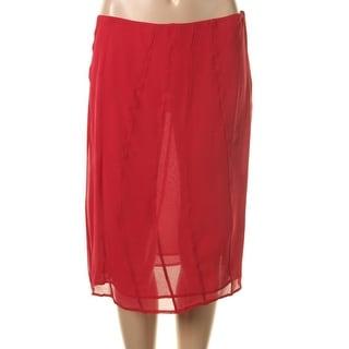 Catherine Malandrino Womens Silk Chiffon Straight Skirt - 8