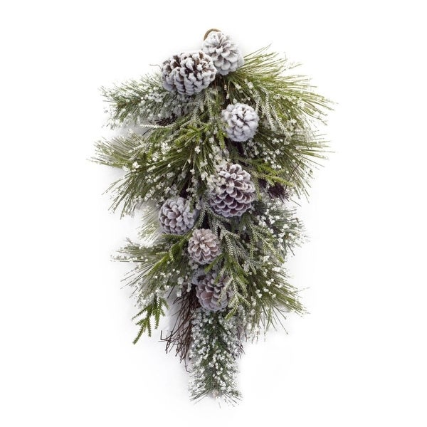 Pack of 4 Pine Sprigs and Pine Cones Frosted Christmas Swags 21""