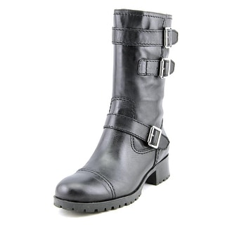 Marc Fisher Arianna Round Toe Leather Mid Calf Boot