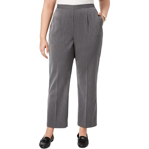 Alfred Dunner Womens Plus Casual Pants Ankle Comfort Waist