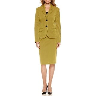 Le Suit NEW Green Women's Size 12 Seamed Notched Skirt Suit Set