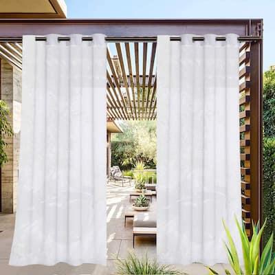 Pro SpaceWhite Sheer Outdoor Grommet Top Curtain