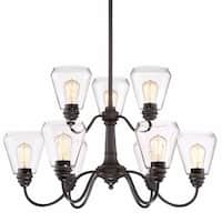 """Designers Fountain 90289 Foundry 9 Light 31"""" Wide 2 Tier Shaded Chandelier"""