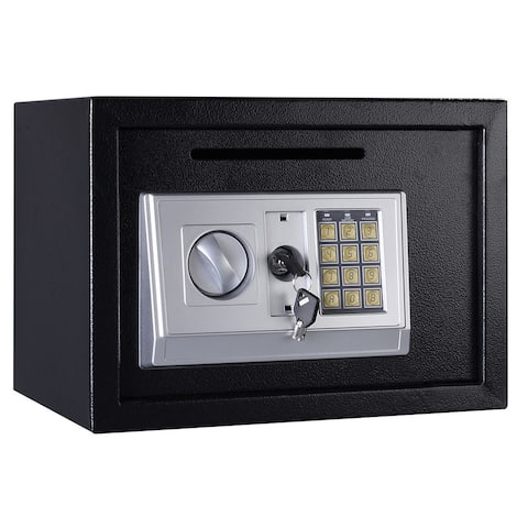 Gymax Digital Depository Drop Cash Safe Box Gun Jewelry Lock Black