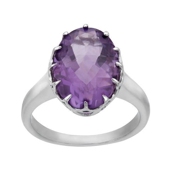 4 1/2 ct Amethyst Ring in Sterling Silver