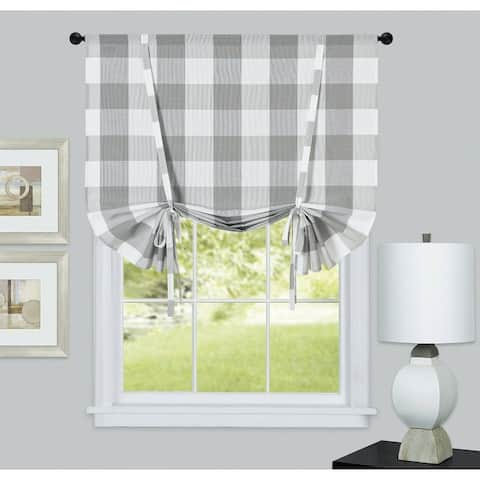 Kate Aurora Country Farmhouse Buffalo Plaid Gingham Tie Up Window Curtain Shades - 42 in. W x 63 in.