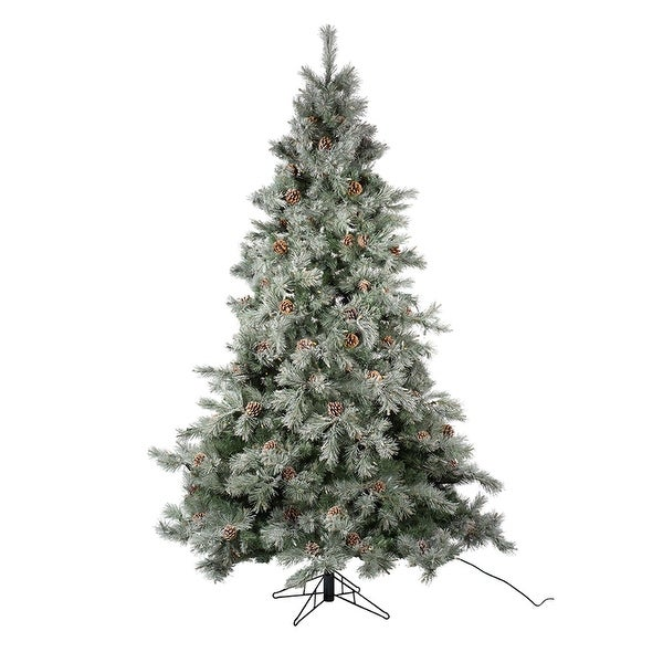 Artificial Christmas Tree With Pine Cones: Shop 7.5' Pre-Lit Frosted Pine Cone Artificial Christmas