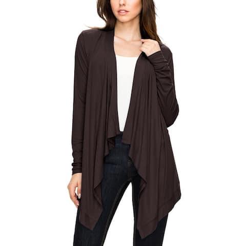 Women's Basic Draped Long Sleeve Open Front Knit Cardigan