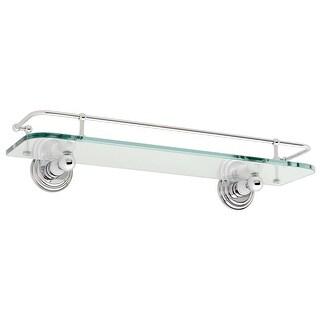 "Ginger 1135T-18  Chelsea 18"" Glass Shelf with Rail - Polished Chrome"