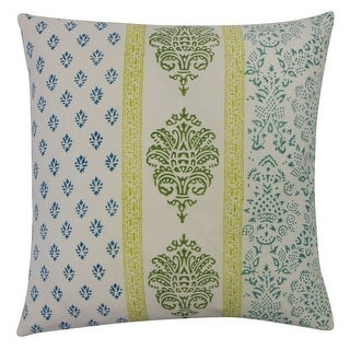 Vivai Home Turquoise Vertical Stamp Pattern Square 16x 16 Feather Pillow