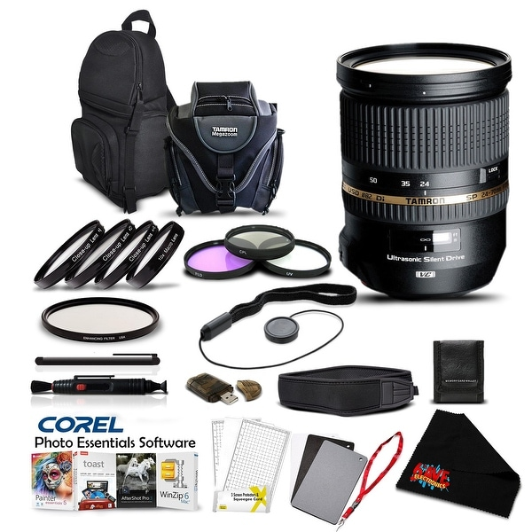 Tamron SP 24-70mm f/2.8 DI VC USD Lens for Canon Pro Accessory Kit - Black