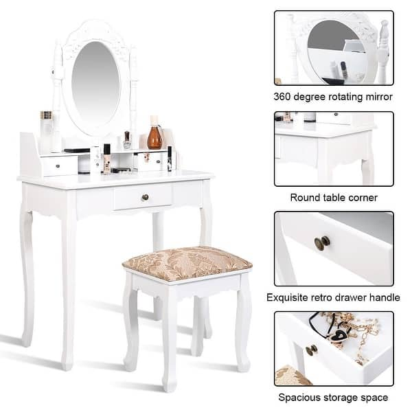 White Vanity Makeup Dressing Table With Rotating Mirror 3 Drawers On Sale Overstock 28422352