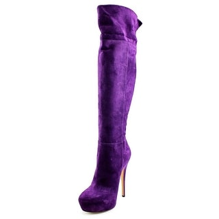 Casadei R171 Round Toe Suede Over the Knee Boot