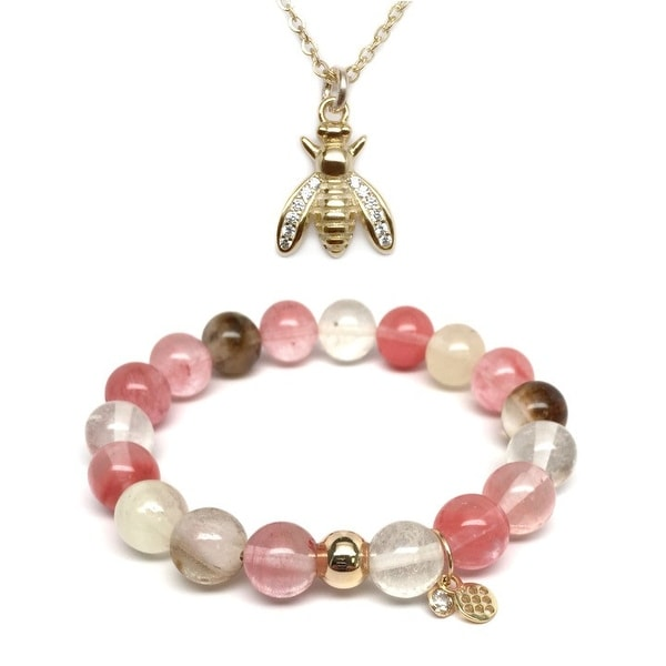Pink Cherry Quartz Bracelet & CZ Bee Gold Charm Necklace Set