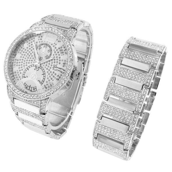 Iced Out Hip Hop Watch Mens Lab Diamonds Matching Bracelet Gift Set Unique