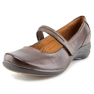 Hush Puppies Epic Mary Jane Women WW Round Toe Leather Brown Mary Janes
