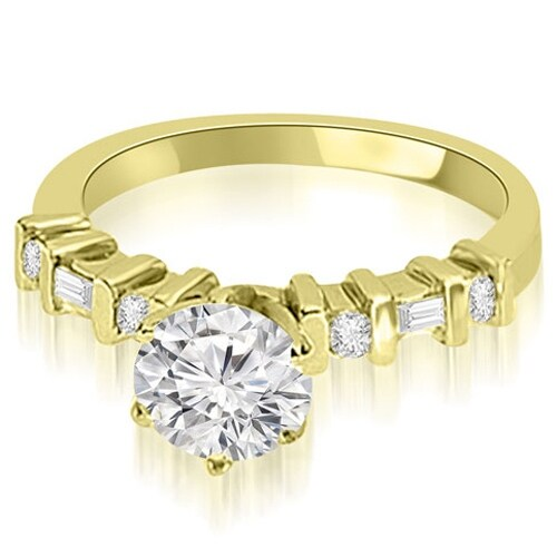 1.20 cttw. 14K Yellow Gold Round and Baguette Diamond Engagement Ring