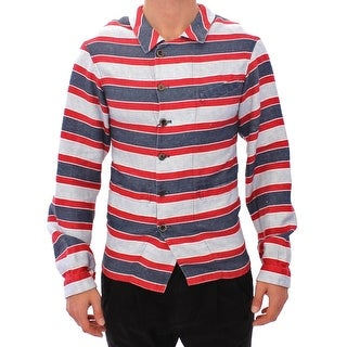 Dolce & Gabbana Dolce & Gabbana Blue Red Striped Runway Casual Linen Shirt - it48-m