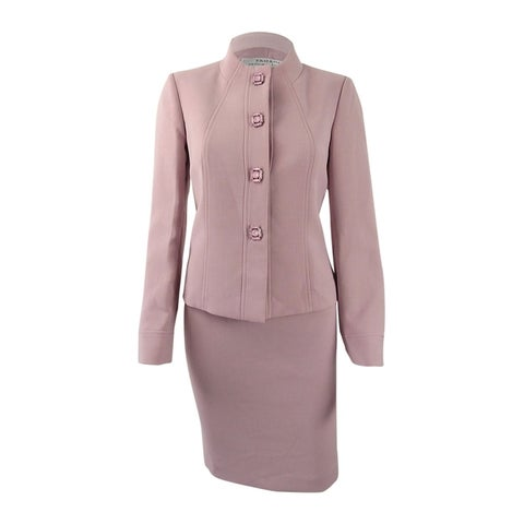 Tahari ASL Women's Petite Jewel-Embellished Skirt Suit - antique pink