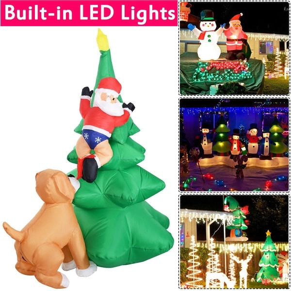 Costway 6 FT Airblown Inflatable Christmas Tree Santa Decor Lighted Lawn Yard Outdoor