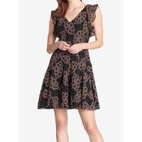Tommy Hilfiger Black Womens Size 6 Flutter-Sleeve A-Line Dress