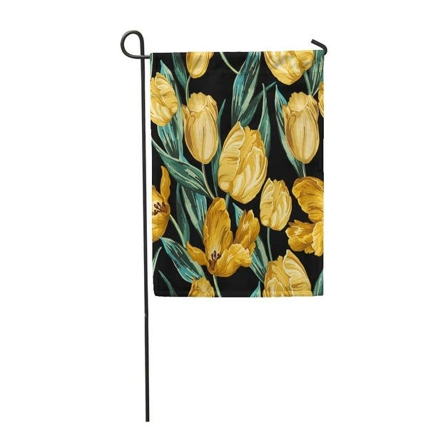 Green Pattern Of Yellow Tulips On Flower Blossom Gold Vintage Garden Flag Decorative Flag House Banner 28x40 Inch On Sale Overstock 31325320
