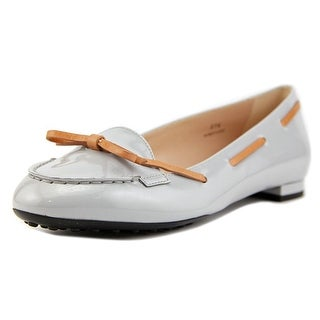Tod's Ballerina Gomma VW Lacetto Round Toe Patent Leather Flats