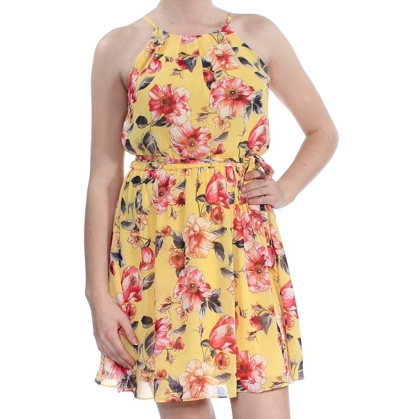 BCX Womens Yellow Floral Sleeveless Above The Knee Fit + Flare Dress Size: M
