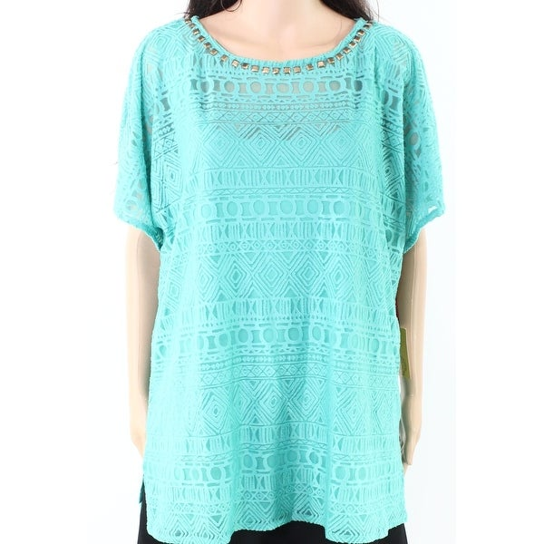 9201fa7bb942c3 Shop Ruby Rd. NEW Sea Green Women's Size 2X Plus Lace Studded Knit Top -  Free Shipping On Orders Over $45 - Overstock - 20061396