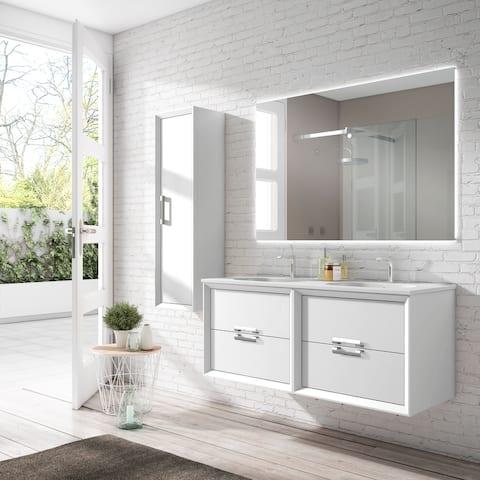 "Lucena Bath 64"" Decor Tirador Vanity with Ceramic Sink"