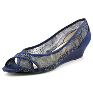 Nina Rigby Women Open Toe Canvas Blue Wedge Heel